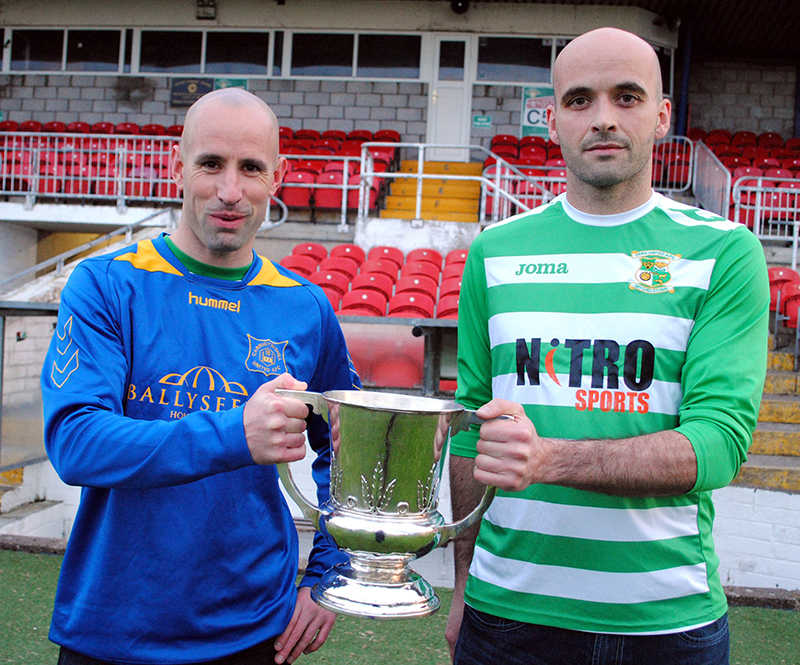 Carrigtwohill-United-and-Park-United-captains-with-AOH-Cup